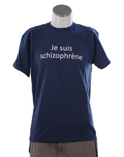 t-shirt je suis schizophrene bleu